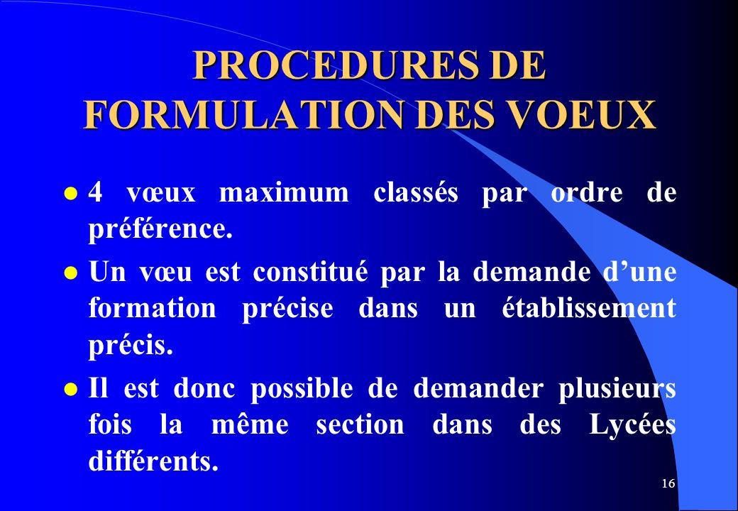 16 PROCEDURES DE FORMULATION DES VOEUX l 4 vœux maximum classés par ordre de préférence. l Un vœu est constitué par la demande dune formation précise