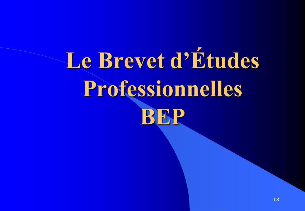 18 Le Brevet dÉtudes Professionnelles BEP