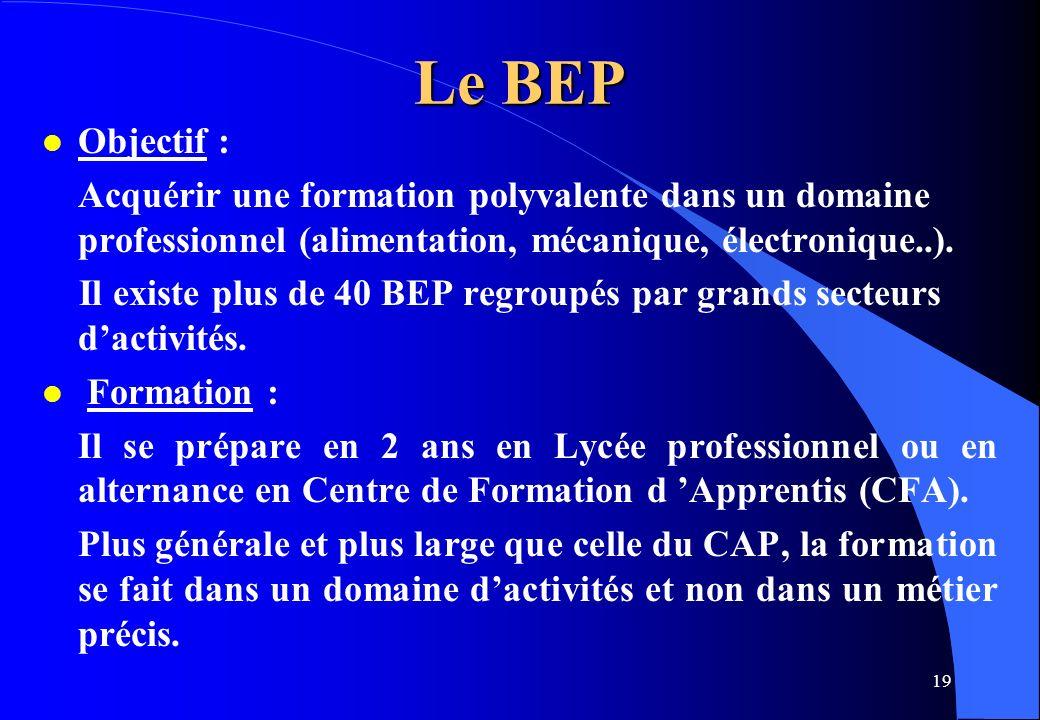 19 Le BEP l Objectif : Acquérir une formation polyvalente dans un domaine professionnel (alimentation, mécanique, électronique..). Il existe plus de 4