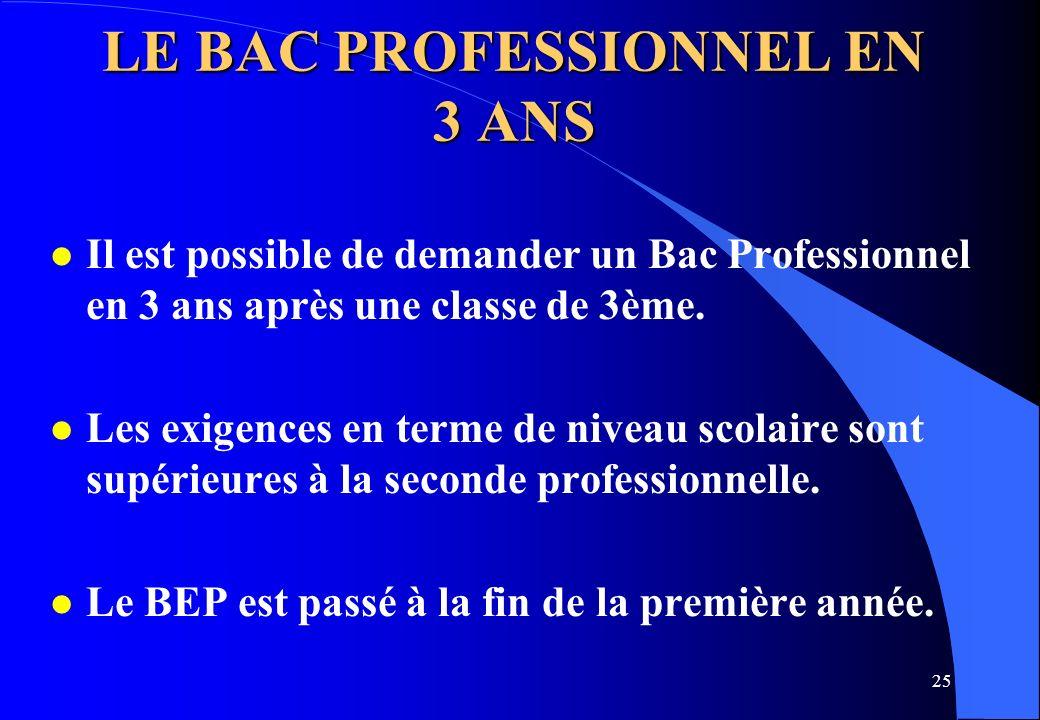 25 LE BAC PROFESSIONNEL EN 3 ANS l Il est possible de demander un Bac Professionnel en 3 ans après une classe de 3ème. l Les exigences en terme de niv