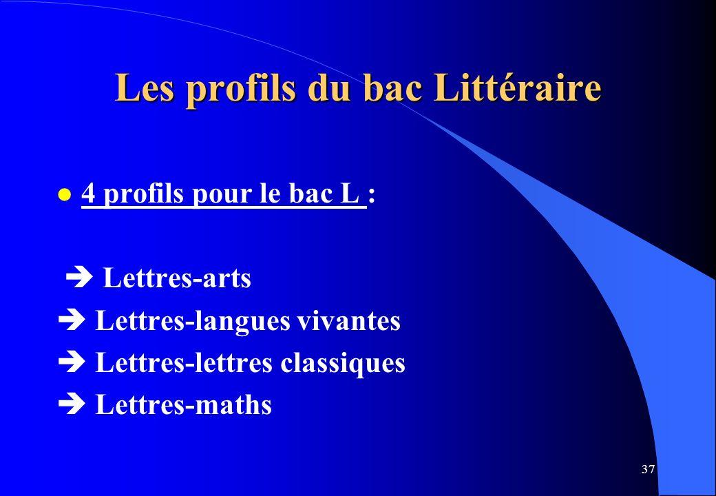 37 Les profils du bac Littéraire l 4 profils pour le bac L : Lettres-arts Lettres-langues vivantes Lettres-lettres classiques Lettres-maths