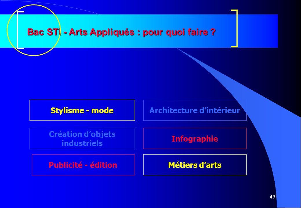 45 Bac STI - Arts Appliqués : pour quoi faire ? Création dobjets industriels Architecture dintérieur Infographie Stylisme - mode Métiers dartsPublicit