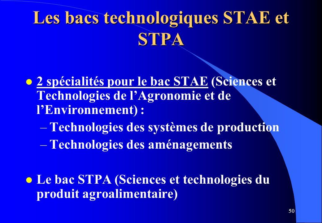 50 Les bacs technologiques STAE et STPA l 2 spécialités pour le bac STAE (Sciences et Technologies de lAgronomie et de lEnvironnement) : –Technologies