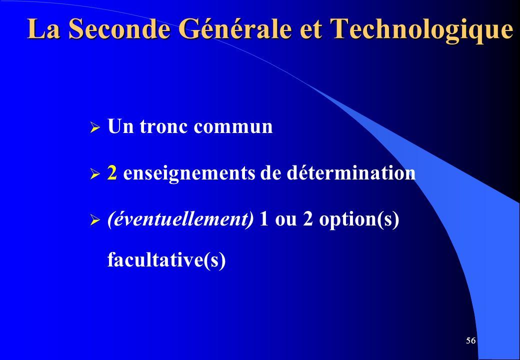 56 La Seconde Générale et Technologique Un tronc commun 2 enseignements de détermination (éventuellement) 1 ou 2 option(s) facultative(s)