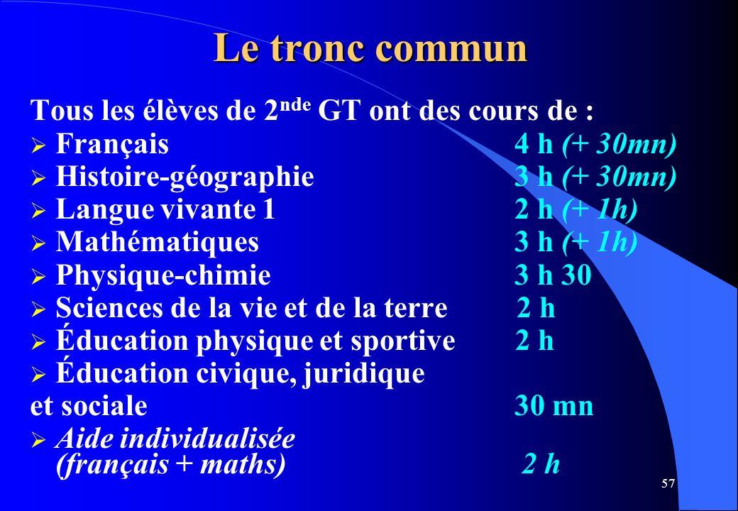 57 Le tronc commun Tous les élèves de 2 nde GT ont des cours de : Français 4 h (+ 30mn) Histoire-géographie 3 h (+ 30mn) Langue vivante 1 2 h (+ 1h) M