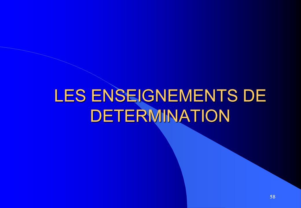 58 LES ENSEIGNEMENTS DE DETERMINATION