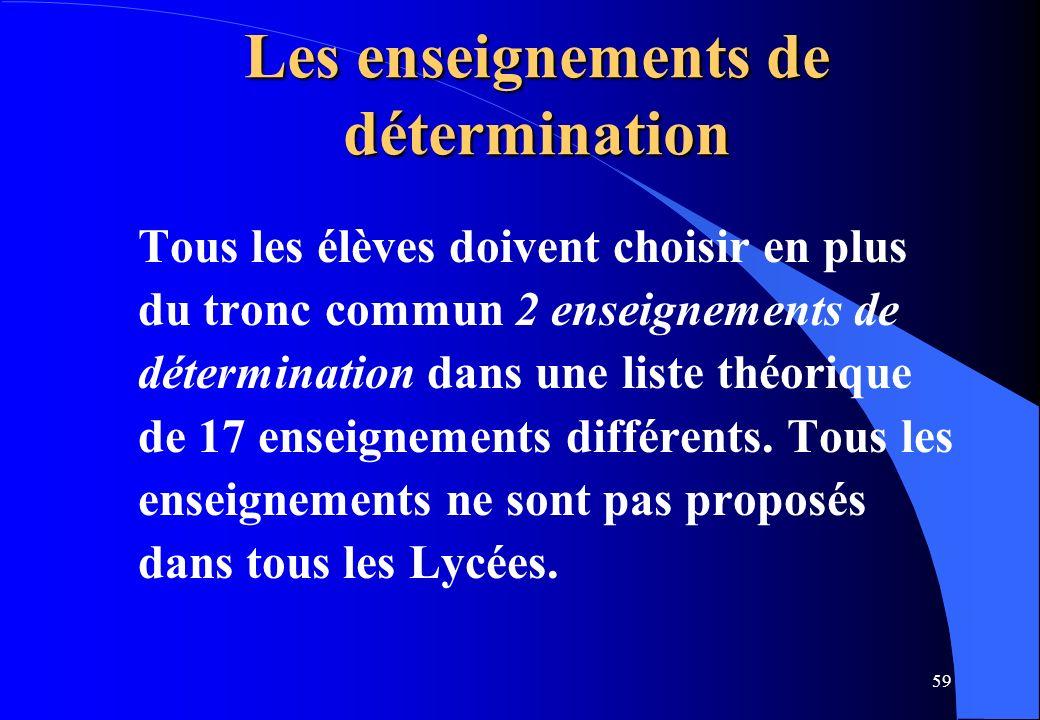 59 Les enseignements de détermination Tous les élèves doivent choisir en plus du tronc commun 2 enseignements de détermination dans une liste théoriqu