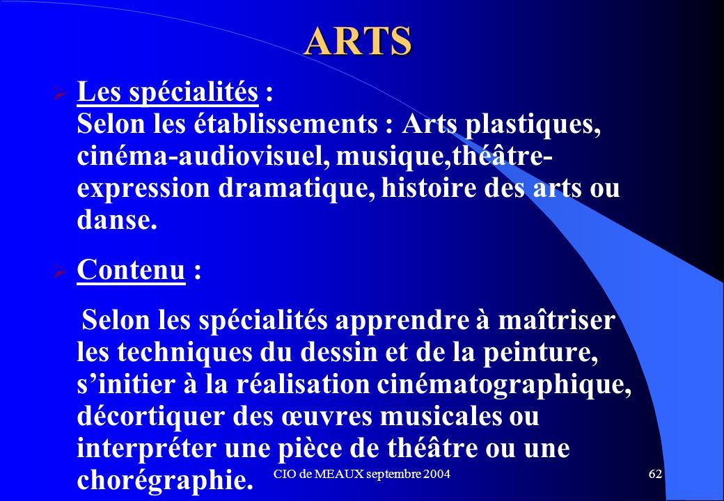 CIO de MEAUX septembre 200462 ARTS Les spécialités : Selon les établissements : Arts plastiques, cinéma-audiovisuel, musique,théâtre- expression drama