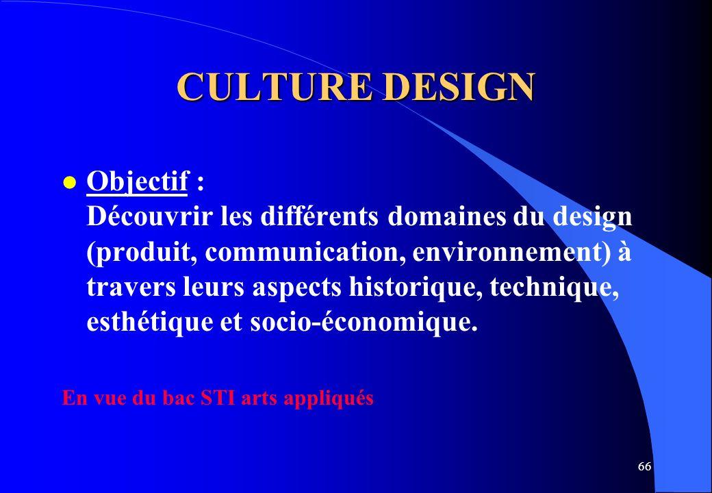66 CULTURE DESIGN l Objectif : Découvrir les différents domaines du design (produit, communication, environnement) à travers leurs aspects historique,