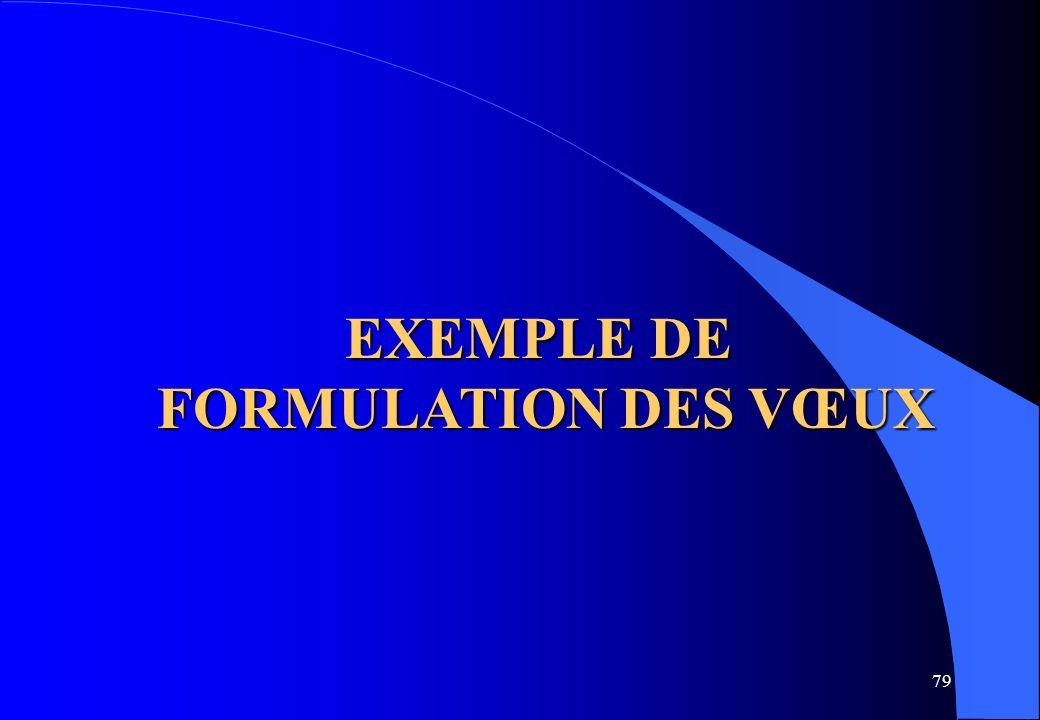 79 EXEMPLE DE FORMULATION DES VŒUX