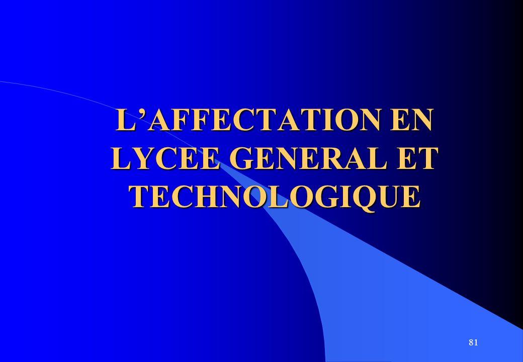 81 LAFFECTATION EN LYCEE GENERAL ET TECHNOLOGIQUE