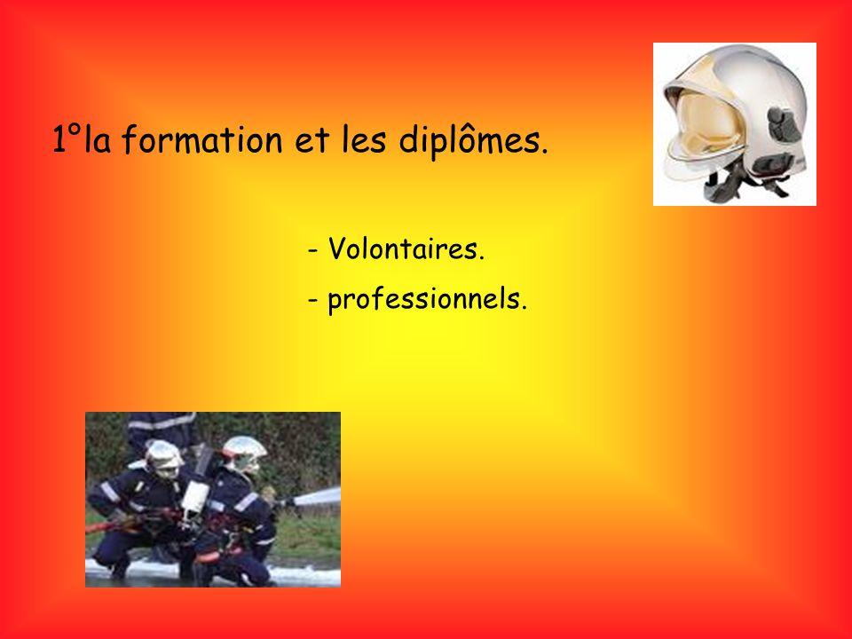 1°la formation et les diplômes. - Volontaires. - professionnels.