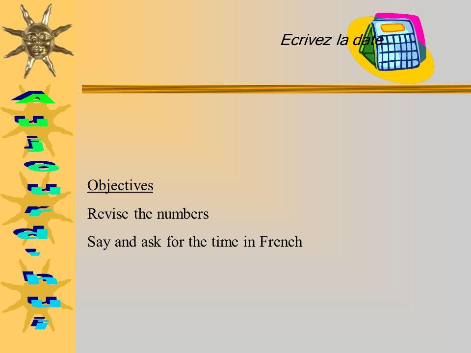 Look at some examples (Metro, Spirale): Quelle heure est-il? Ecris les heures dans lordre correct