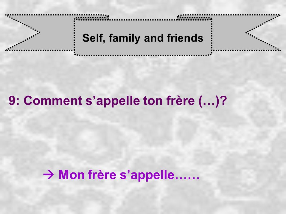 Self, family and friends 9: Comment sappelle ton frère (…) Mon frère s appelle……