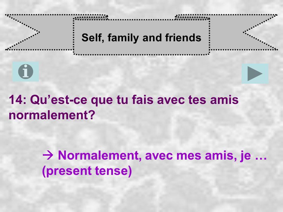 Self, family and friends 14: Quest-ce que tu fais avec tes amis normalement? Normalement, avec mes amis, je … (present tense)