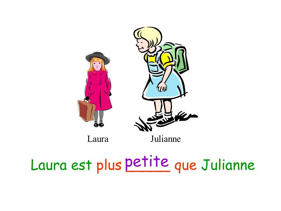 LauraJulianne Julianne est plus _______ que Laura grande