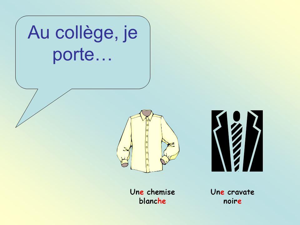 Au collège, je porte… Une cravate noire Une chemise blanche