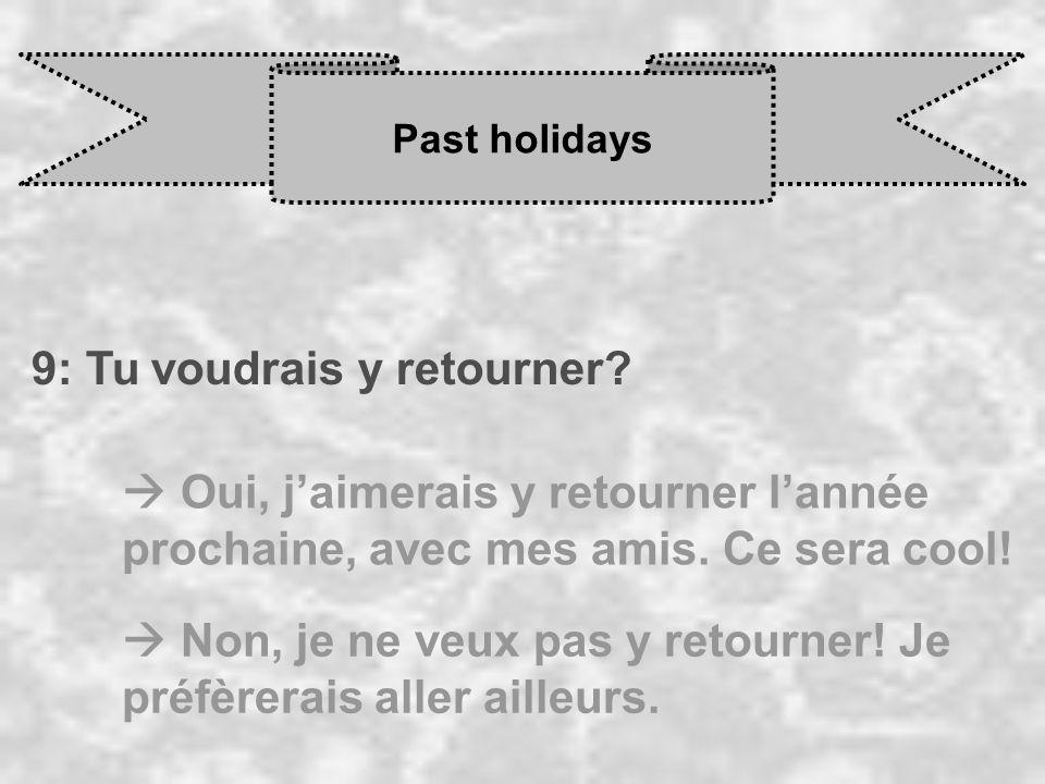 Past holidays 9: Tu voudrais y retourner? Oui, j aimerais y retourner l année prochaine, avec mes amis. Ce sera cool! Non, je ne veux pas y retourner!