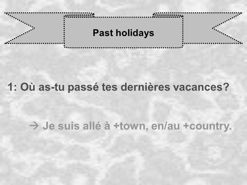 Past holidays 1: Où as-tu passé tes dernières vacances? Je suis allé à +town, en/au +country.