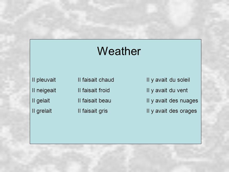 Weather Il pleuvaitIl faisait chaudIl y avaitdu soleil Il neigeaitIl faisait froidIl y avait du vent Il gelaitIl faisait beauIl y avait des nuages Il