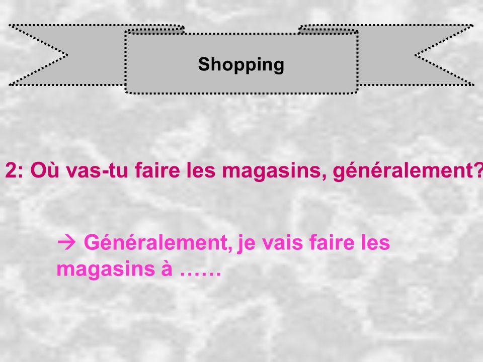 Shopping 2: Où vas-tu faire les magasins, généralement? Généralement, je vais faire les magasins à ……