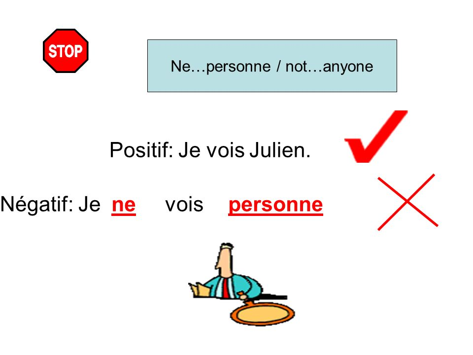 Ne…personne / not…anyone Positif: Je vois Julien. Négatif: Jenevoispersonne