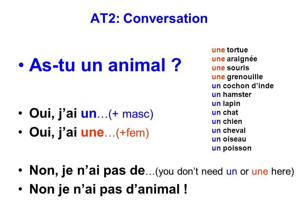 AT2: Conversation As-tu un animal .