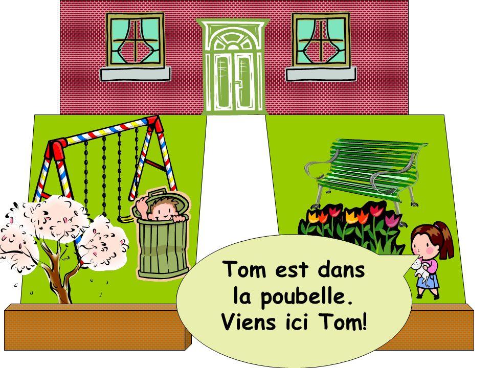 Tom est dans la poubelle. Viens ici Tom!