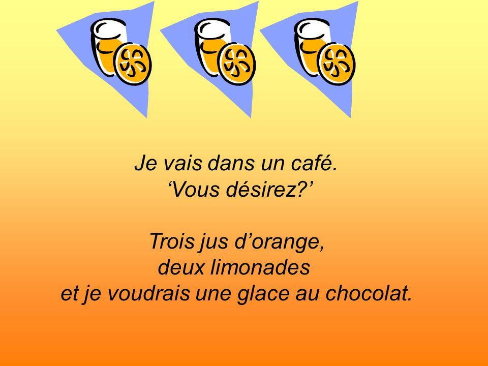 Je vais dans un café. Vous désirez? Trois jus dorange, deux limonades et je voudrais une glace au chocolat.