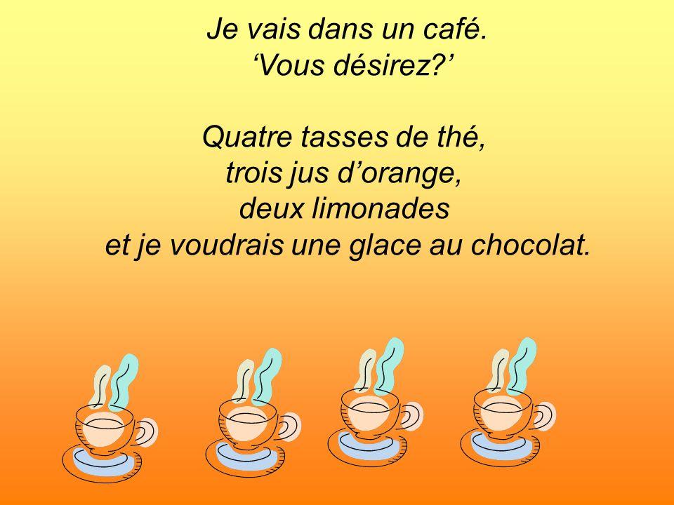 Je vais dans un café. Vous désirez? Quatre tasses de thé, trois jus dorange, deux limonades et je voudrais une glace au chocolat.
