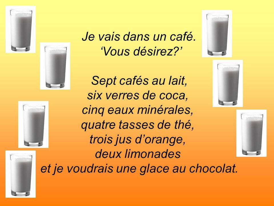 Je vais dans un café. Vous désirez? Sept cafés au lait, six verres de coca, cinq eaux minérales, quatre tasses de thé, trois jus dorange, deux limonad