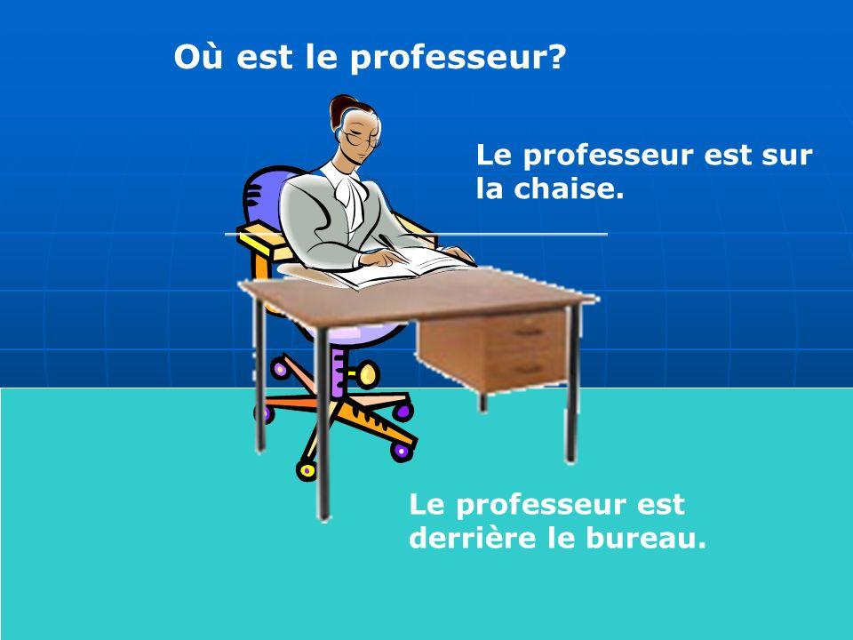 Où est le professeur Le professeur est sur la chaise. Le professeur est derrière le bureau.
