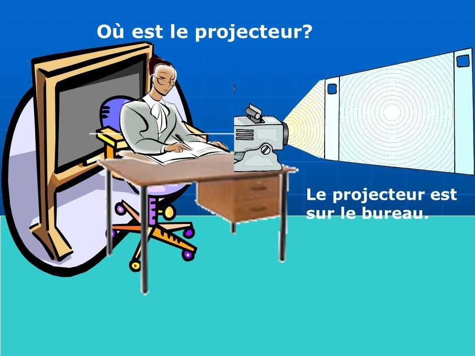 Où est le projecteur Le projecteur est sur le bureau.