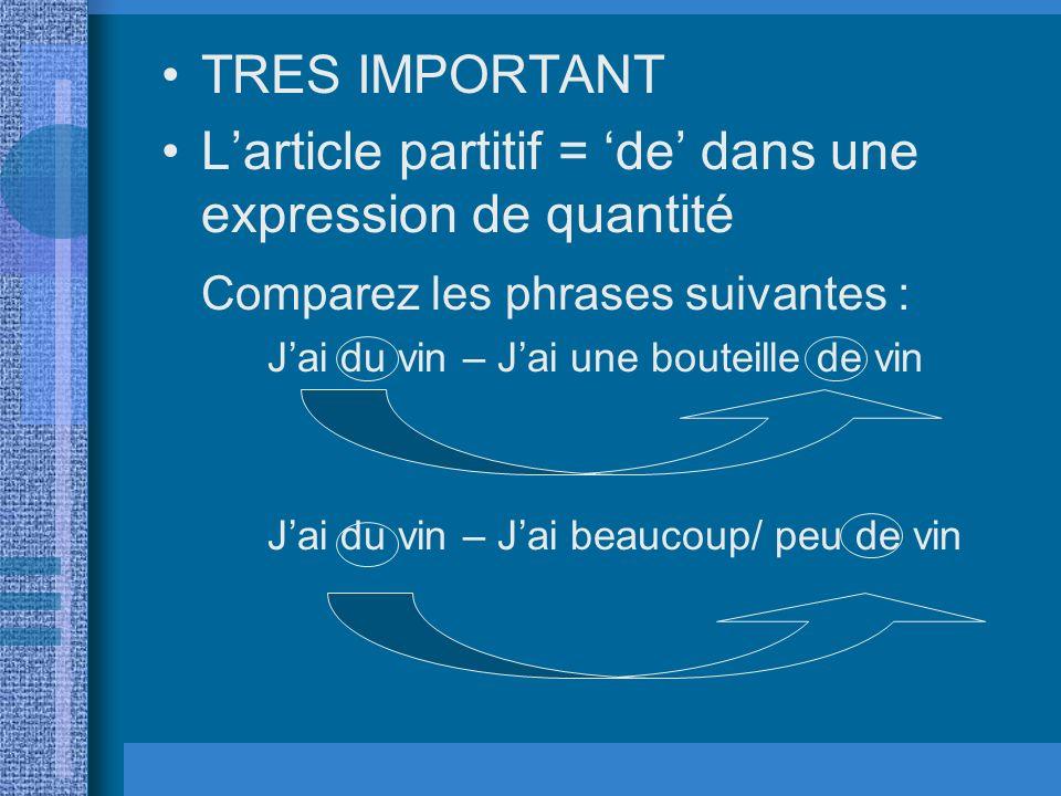 RAPPEL : TRES IMPORTANT Larticle indéfini et larticle partitif = de dans une phrase négative. Comparez les phrases suivantes : Jai du temps – Je nai p
