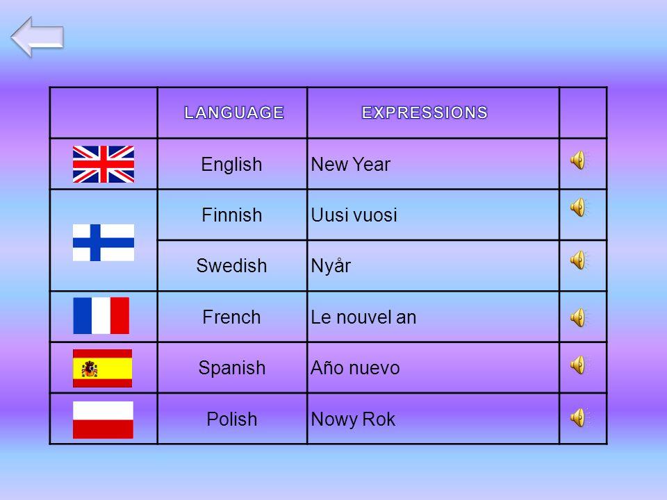 EnglishNew Year FinnishUusi vuosi SwedishNyår FrenchLe nouvel an SpanishAño nuevo PolishNowy Rok