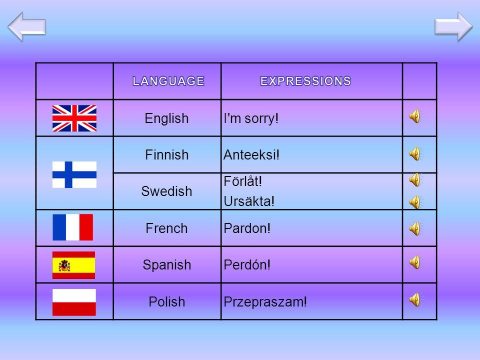 EnglishI m sorry. FinnishAnteeksi. Swedish Förlåt.