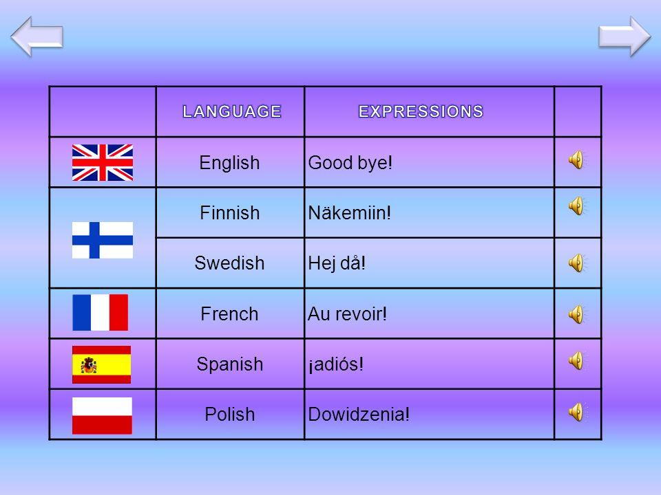 EnglishGood bye! FinnishNäkemiin! SwedishHej då! FrenchAu revoir! Spanish¡adiós! PolishDowidzenia!