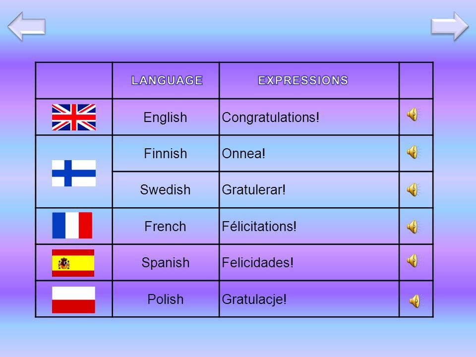 EnglishCongratulations. FinnishOnnea. SwedishGratulerar.