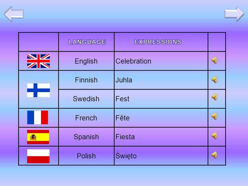 EnglishCelebration FinnishJuhla SwedishFest FrenchFête SpanishFiesta PolishŚwięto