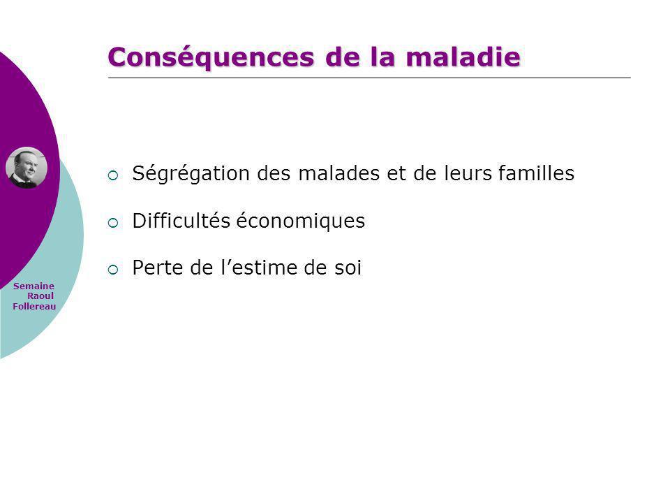 Semaine Raoul Follereau Conséquences de la maladie Ségrégation des malades et de leurs familles Difficultés économiques Perte de lestime de soi
