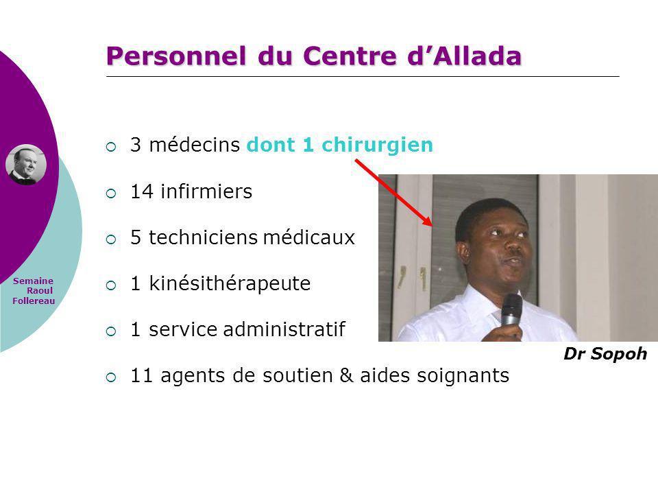 Semaine Raoul Follereau Personnel du Centre dAllada 3 médecins dont 1 chirurgien 14 infirmiers 5 techniciens médicaux 1 kinésithérapeute 1 service adm