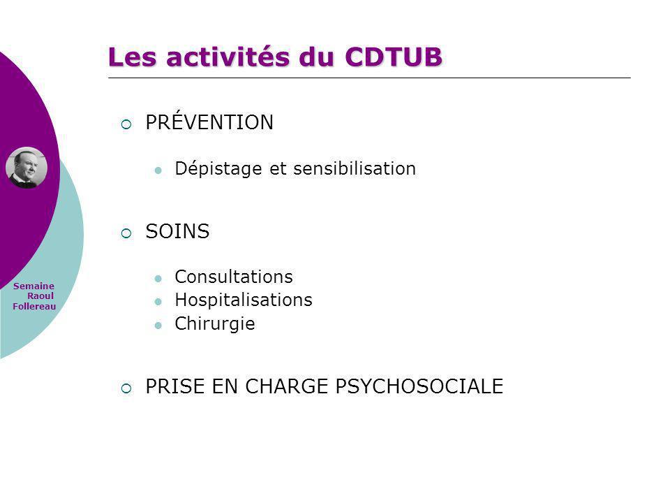 Semaine Raoul Follereau Les activités du CDTUB PRÉVENTION Dépistage et sensibilisation SOINS Consultations Hospitalisations Chirurgie PRISE EN CHARGE