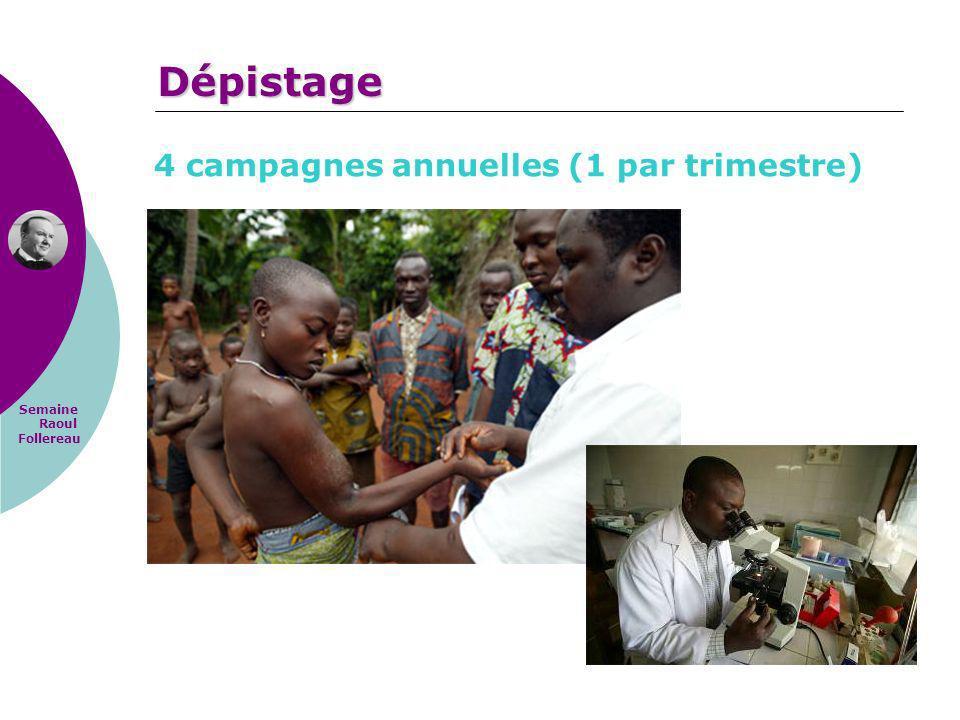 Semaine Raoul Follereau 4 campagnes annuelles (1 par trimestre) Dépistage
