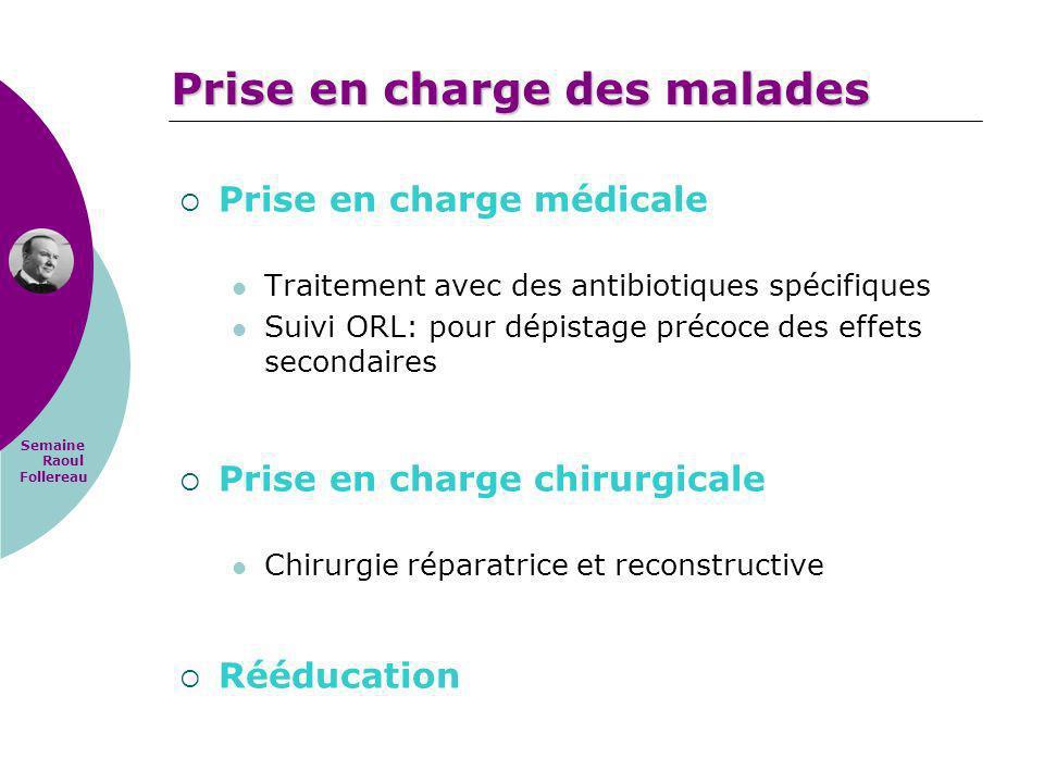 Semaine Raoul Follereau Prise en charge médicale Traitement avec des antibiotiques spécifiques Suivi ORL: pour dépistage précoce des effets secondaire