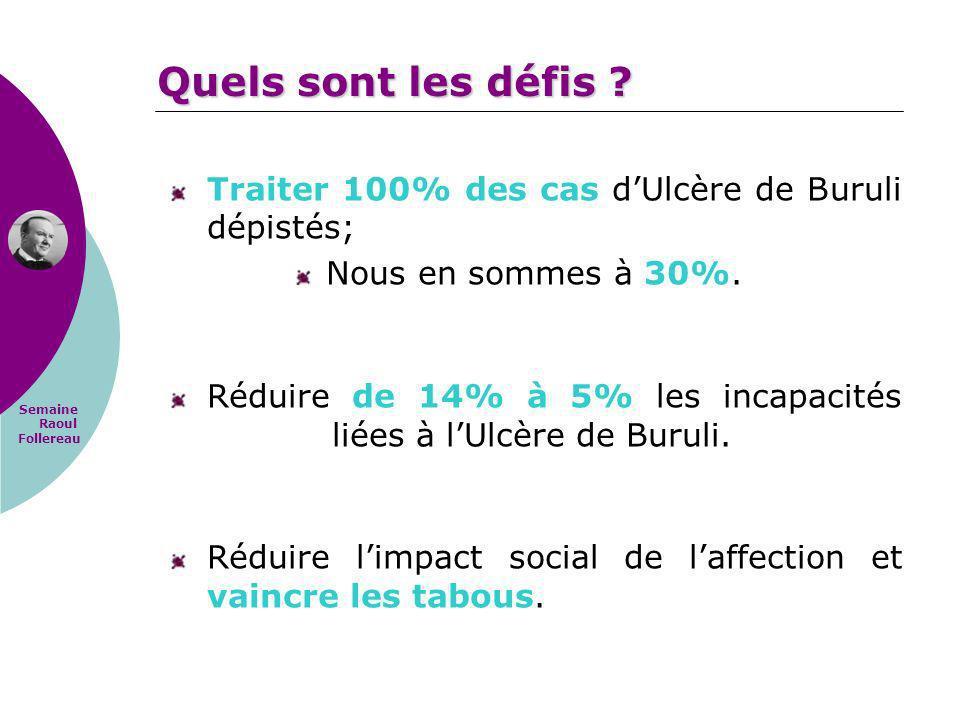 Semaine Raoul Follereau Traiter 100% des cas dUlcère de Buruli dépistés; Nous en sommes à 30%. Réduire de 14% à 5% les incapacités liées à lUlcère de