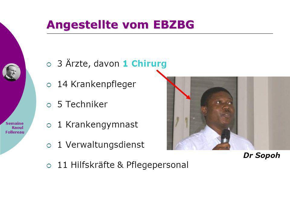 Semaine Raoul Follereau Angestellte vom EBZBG 3 Ärzte, davon 1 Chirurg 14 Krankenpfleger 5 Techniker 1 Krankengymnast 1 Verwaltungsdienst 11 Hilfskräf