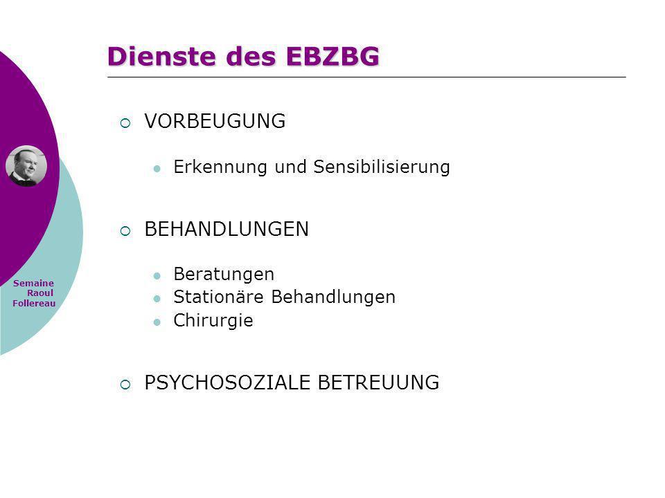 Semaine Raoul Follereau Dienste des EBZBG VORBEUGUNG Erkennung und Sensibilisierung BEHANDLUNGEN Beratungen Stationäre Behandlungen Chirurgie PSYCHOSO