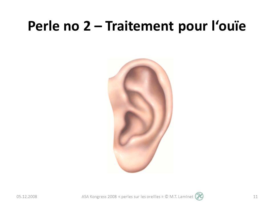 Perle no 2 – Traitement pour louïe 05.12.200811 ASA Kongress 2008 « perles sur les oreilles » © M.T. Laminet