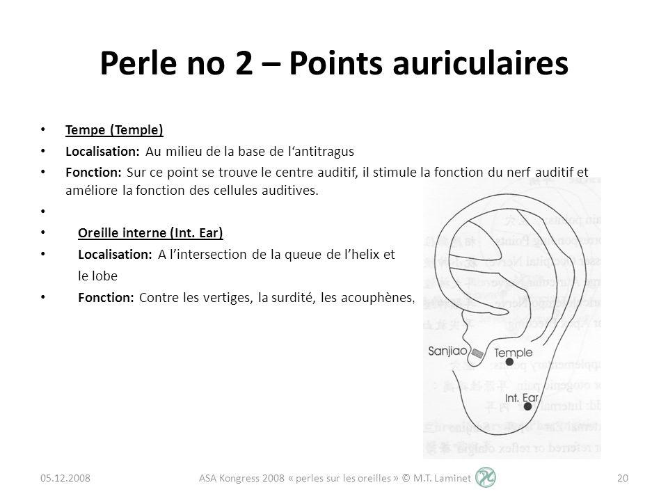 Perle no 2 – Points auriculaires Tempe (Temple) Localisation: Au milieu de la base de lantitragus Fonction: Sur ce point se trouve le centre auditif,