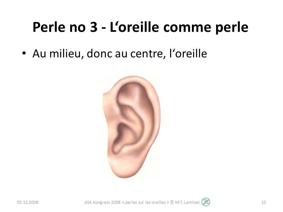 Au milieu, donc au centre, loreille Perle no 3 - Loreille comme perle 05.12.200825 ASA Kongress 2008 « perles sur les oreilles » © M.T. Laminet